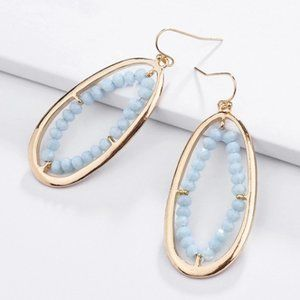 Boho Dangle Statement Earrings Blue Oval Hoops